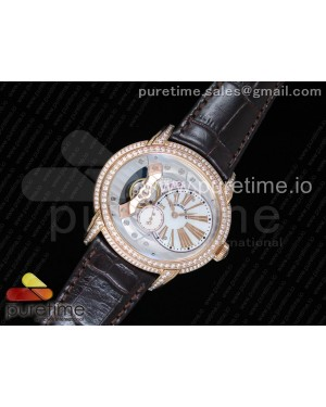 Millennium Series 15350 RG V9F 1:1 Best Edition Diamonds Bezel White Dial RG Markers on Brown Leather Strap A4101