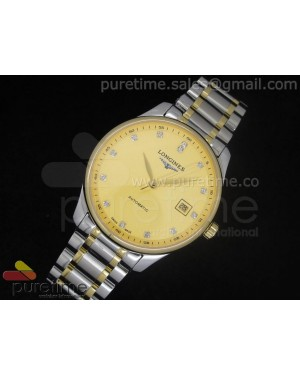 Master Automatic SS Gold Dial Diamond Markers on Bracelet A2824