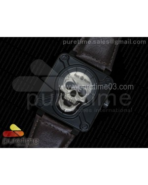 BR 01 PVD Silver Skull Dial on Brown Leather Strap A23J