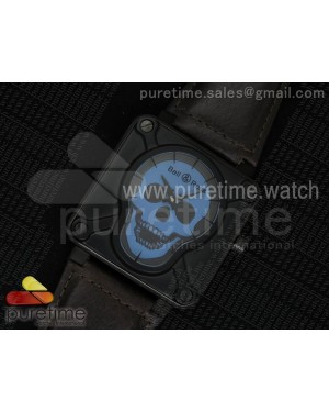 BR 01 Skull PVD Blue Dial on Black Leather Strap MIYOTA 9015 (Free Rubber Strap)
