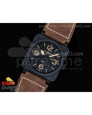 BR 03-92 PVD Black Dial Yellow Markers on Brown Leather Strap Strap MIYOTA 9015