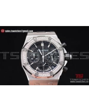 Audemars Piguet Royal Oak Offshore Black Dial Diamonds Bezel SS/RU - OS20 Quartz(EF)