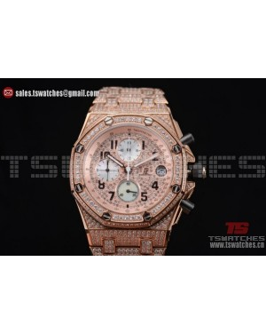 Audemars Piguet Royal Oak Offshore Chrono Seiko VK67 Quartz Rose Gold/Diamonds RG/Diam