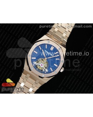 Royal Oak 2018 SIHH RG Tourbillon R8F Blue Sunburst Tapisserie Dial on RG Bracelet