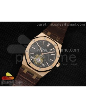 Royal Oak 41mm Tourbillon RG Black Dial on Brown Leather Strap