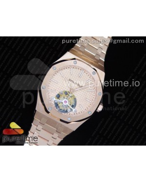 Royal Oak RG Tourbillon Rose Gold Textured Dial on SS Bracelet