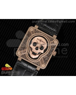 Bell & Ross BR01 RG Burning Skull 'Tattoo' Watch RG Dial on Black Leather Strap MIYOTA 9015