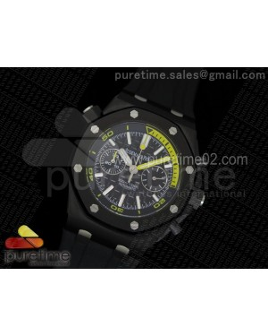 Royal Oak Offshore Diver Chronograph PVD Yellow Custom Made on Black Rubber Strap A3126 (Free Yellow Strap)