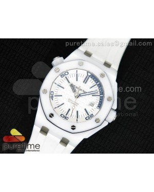 Royal Oak Offshore Diver White Ceramic Noob Best Edition on White Rubber Strap A3120