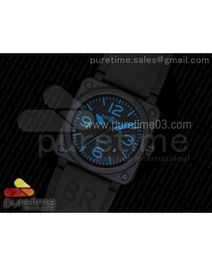 BR 03-92 PVD Black Dial Blue Markers on Black Rubber Strap MIYOTA 9015