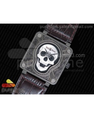 Bell & Ross BR01 Burning Skull 'Tattoo' Watch Silver Dial on Brown Leather Strap MIYOTA 9015