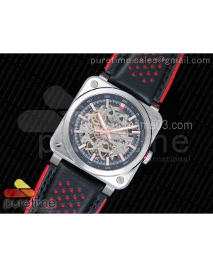 BR 03-92 AÉRO GT Skeleton Dial RG Markers on Black Leather Strap A23J