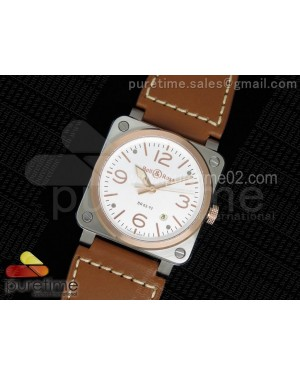 BR 03-92 Steel & Rose Gold White Dial on Brown Leather Strap MIYOTA 9015