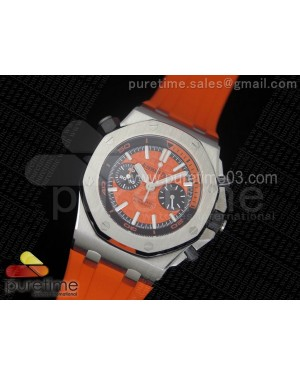 Royal Oak Offshore Diver Chronograph Orange JF 1:1 Best Edition on Orange Rubber Strap A3126 V2 (Free XS Strap)