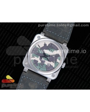 BR03-92 SS Camouflage Dial on Gray Leather Strap MIYOTA 9015 V2