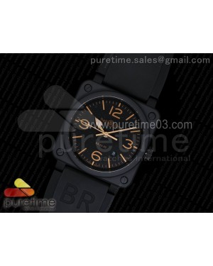 BR 03-92 PVD Black Dial Gold Metal Markers on Black Rubber Strap MIYOTA 9015