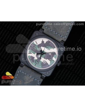 BR03-92 PVD Camouflage Dial on Gray Leather Strap MIYOTA 9015 V2