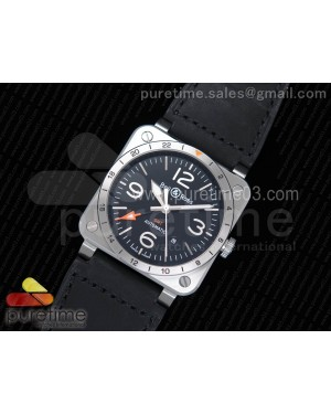 BR 03-93 GMT SS 1:1 Best Edition Black Dial on Black Leather Strap A2836