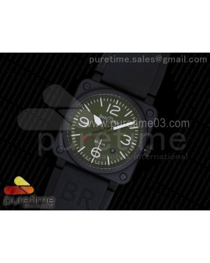 BR 03-92 PVD Green Dial on Black Rubber Strap MIYOTA 9015