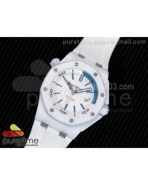 Royal Oak Offshore Diver White Lite Ceramic White/Blue Dial on White Rubber Strap A3120