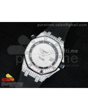 Royal Oak Offshore Diver SS Full Paved Diamonds on Rubber Strap A2824