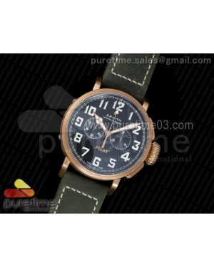 Pilot Type 20 Chronograph Extra Special XF 1:1 Best Edition Real Bronze Case on Green Nubuck Strap A7750
