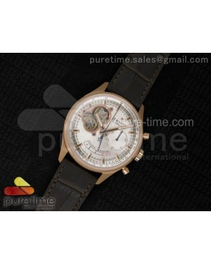 El Primero RG AXF Silver Dial on Brown Leather Strap Asian Manual Winding Chronograph Movement