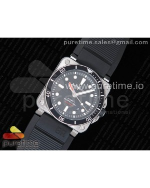 BR 03-92 Diver SS 1:1 Best Edition Black Dial on Rubber Strap MIYOTA 9015 (Free Nylon Strap) V2