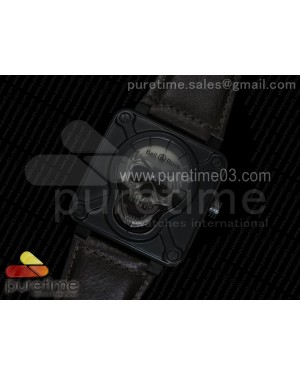 BR 01 PVD Gray Skull Dial on Brown Leather Strap A23J