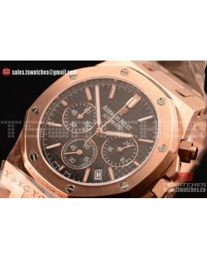 Audemars Piguet Royal Oak Chronograph Miyota OS20 Quartz Black Dial RG/RG