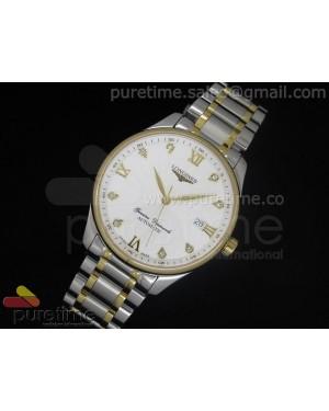 Master Automatic SS/YG White Dial Roman & Diamond Markers on Bracelet A2824