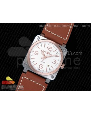 BR 03-92 SS White Dial RG Bezel on Brown Leather Strap MIYOTA 9015