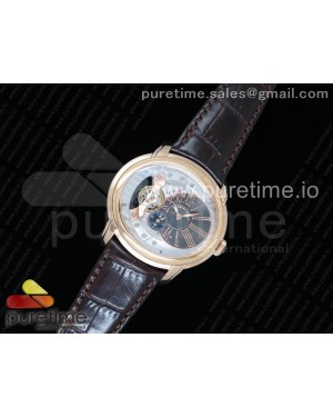 Millennium Series 15350 RG V9F 1:1 Best Edition Skeleton Gray Dial on Dark Brown Leather Strap A4101