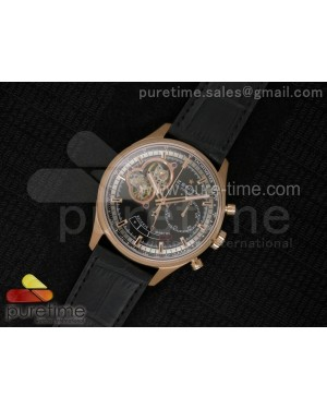 El Primero RG AXF Black Dial on Black Leather Strap Asian Manual Winding Chronograph Movement