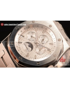 Audemars Piguet Royal Oak Perpetual Calendar Asia Automatic Steel Case with White Dial and Steel Bracelet