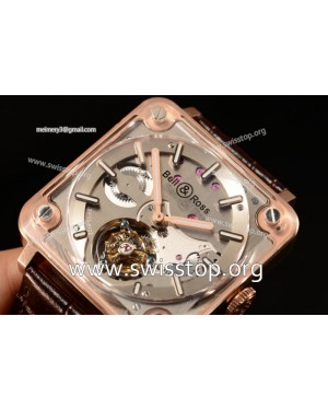 Bell & Ross BR X2 Tourbillon Manual Winding Rose Gold Case With Alligator Strap All Sapphire