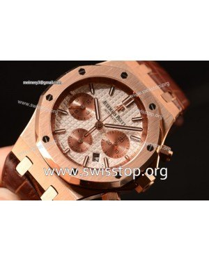 Royal Oak Chrono Rose Gold Case White Dial 7750 Automatic Brown Leather