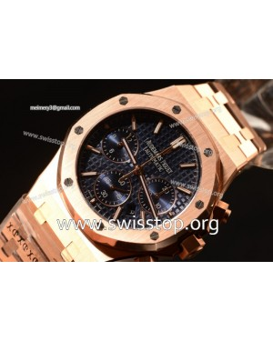 Royal Oak Chrono Full Rose Gold With Blue Dial 7750 Automatic
