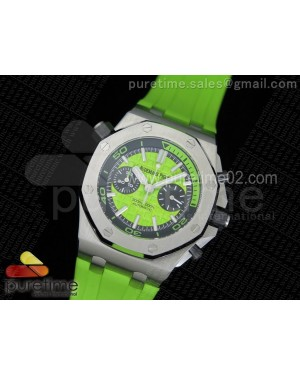 Royal Oak Offshore Diver Chronograph Green Noob Best Edition on Green Rubber Strap A3126
