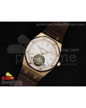 Royal Oak 41mm Tourbillon RG Silver Dial Diamonds Bezel on Brown Leather Strap