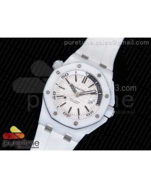Royal Oak Offshore Diver White Lite Ceramic White/Black Dial on White Rubber Strap A3120
