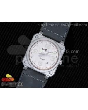 BR 03-92 Horolum Satin-polished Steel Gray Dial on Gray Leather Strap MIYOTA 9015 (Free Nylon Strap)