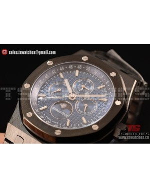 Audemars Piguet Royal Oak Perpetual Calendar Asia Automatic PVD Case with Blue Dial and PVD Bracelet
