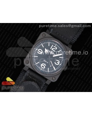 BR 03-92 Real Ceramic Case 1:1 Best Edition Black Dial White Markers on Nylon Strap MIYOTA 9015 (Free Rubber Strap)