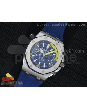 Royal Oak Offshore Diver Chronograph Blue Noob Best Edition on Blue Rubber Strap A3126