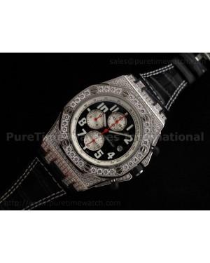 Royal Oak Offshore SS Black/White Full Diamonds Quartz