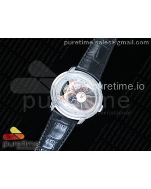 Millennium Series 15350 SS V9F 1:1 Best Edition Skeleton Gray/White Dial on Dark Brown Leather Strap A4101