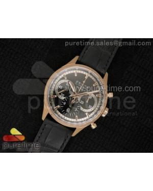 El Primero Chrono RG AXF Black Dial on Black Leather Strap A7750