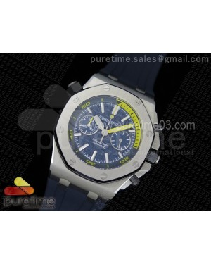 Royal Oak Offshore Diver Chronograph Blue JF 1:1 Best Edition on Blue Rubber Strap A3126 V2 (Free XS Strap)