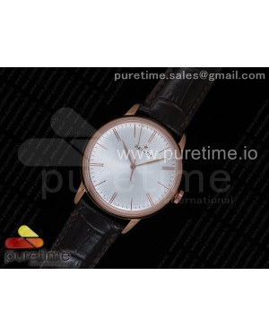 Elite Classic 42 RG Silver Dial on Brown Leather Strap MIYOTA 9015